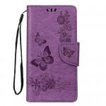 Pouzdro Galaxy A40 - Květy a motýli - fialové 02