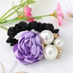 Gumička do vlasů s růží a perlami - fialová