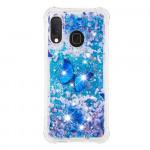 Pouzdro Galaxy A20e - Motýl - tekuté třpytky