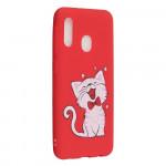 Pouzdro Galaxy A20e - matné - červené - kočka