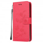 Pouzdro Xiaomi Redmi Note 8 - Květy a motýli - červené