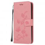 Pouzdro Xiaomi Redmi Note 8 - Květy a motýli - růžové