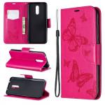Pouzdro Nokia 3.2 - Motýli - tmavě růžové