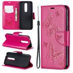 Pouzdro Nokia 4.2 - tmavě růžové - motýli
