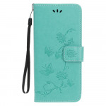 Pouzdro Nokia 4.2 - tyrkysové - Květy a motýli