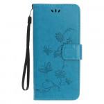 Pouzdro Nokia 4.2 - modré - Květy a motýli