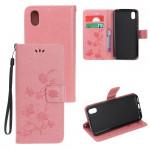 Pouzdro Huawei Y5 2019, Honor 8S  - Květy a motýli - růžové