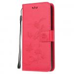 Pouzdro Xiaomi Redmi Note 9 Pro / Note 9S - Květy a motýli - tmavě růžové