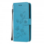 Pouzdro Xiaomi Redmi Note 9 Pro / Note 9S - Květy a motýli - modré
