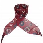 Módní tkaničky s kytičkami - bordó