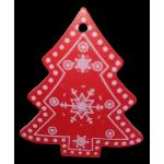 Vánoční dřevěná ozdoba - vánoční stromeček červený 01