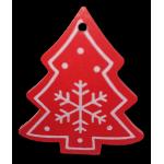 Vánoční dřevěná ozdoba - vánoční stromeček červený 02