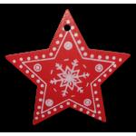 Vánoční dřevěná ozdoba - vánoční hvězda červená 01