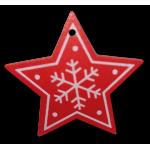 Vánoční dřevěná ozdoba - vánoční hvězda červená 02