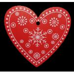Vánoční dřevěná ozdoba - vánoční srdce červené 01