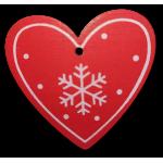 Vánoční dřevěná ozdoba - vánoční srdce červené 02