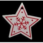 Vánoční dřevěná ozdoba - vánoční hvězda bílá 01