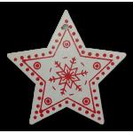 Vánoční dřevěná ozdoba - vánoční hvězda bílá 02
