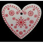 Vánoční dřevěná ozdoba - vánoční srdce bílé