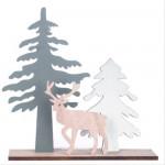 Vánoční dřevěná ozdoba - sob a stromy