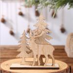 Vánoční dřevěná ozdoba - sob a stromy 02