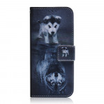 Pouzdro Motorola Moto G8 Power Lite - Štěně a vlk