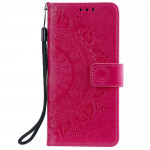 Pouzdro Motorola Moto E7 Plus / G9 Play - tmavě růžové - Mandala 02