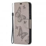 Pouzdro Nokia 3.4 - šedé motýli