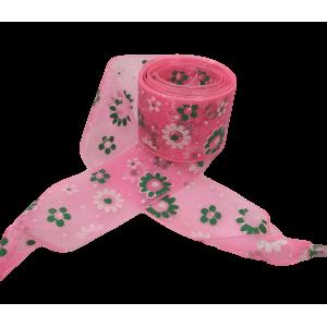 Módní tkaničky s kytičkami - růžové 03