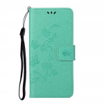 Pouzdro Honor 10X Lite - tyrkysové - Květy a motýli