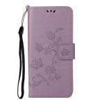 Pouzdro Honor 10X Lite - světle fialové - Květy a motýli