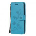 Pouzdro Xiaomi Mi Note 10 Lite - modré - Květy a motýli