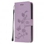 Pouzdro Xiaomi Mi Note 10 Lite - světle fialové - Květy a motýli