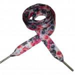 Módní tkaničky - růžové a černé květy
