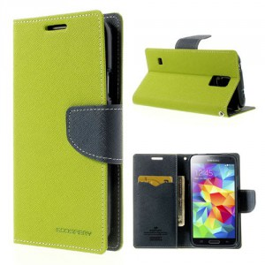 Pouzdro Fancy Diary - Galaxy S5 i9600 - zelené-tmavě modré