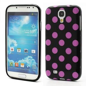 Pouzdro/Obal - Galaxy S4 i9500 - Černý s fialovými puntíky
