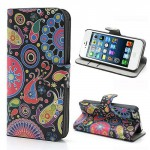Koženkové pouzdro Wallet - iPhone 5/5S - Květy 01