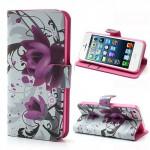 Koženkové pouzdro Wallet - iPhone 5/5S - Květy 03