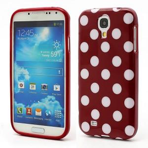 Pouzdro/Obal - Galaxy S4 i9500 - Červený s bílými puntíky