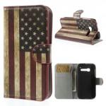 Koženkové pouzdro Wallet - One Touch Pop C5 - Vlajka USA Vintage