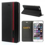 Koženkové pouzdro Wallet - iPhone 6 Plus - černé/červené