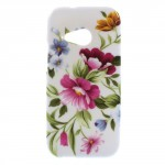 Pouzdro / Obal Květy 01 - HTC One Mini 2