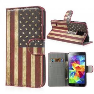 Koženkové pouzdro - Galaxy S5 i9600 - Vlajka USA Vintage
