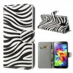Koženkové pouzdro - Galaxy S5 i9600 - Zebra