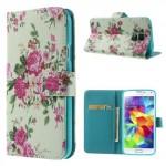 Koženkové pouzdro - Galaxy S5 i9600 - Květy 01
