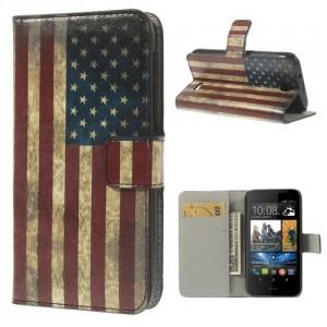 Koženkové pouzdro Wallet - Vlajka USA Vintage - HTC Desire 310