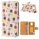 Koženkové pouzdro Wallet - Galaxy S5 Mini G800 - Květy 04