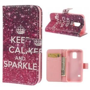 Koženkové pouzdro Wallet - Galaxy S5 Mini G800 - Keep calm and spark