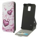Koženkové pouzdro Flip - Galaxy S5 Mini G800 - Srdce 01