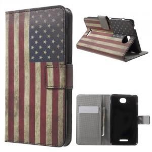 Koženkové pouzdro Wallet - Xperia E4 - Vlajka USA Vintage